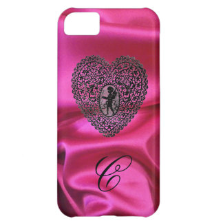 CUPID LACE HEART SILK PINK CLOTH MONOGRAM,Black iPhone 5C Case