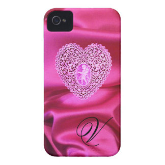 CUPID LACE HEART SILK PINK FUCHSIA CLOTH MONOGRAM iPhone 4 Case-Mate CASES