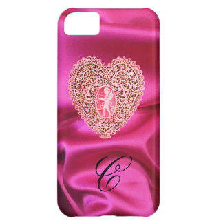 CUPID LACE HEART SILK PINK FUCHSIA CLOTH MONOGRAM CASE FOR iPhone 5C
