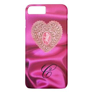 CUPID LACE HEART SILK PINK FUCHSIA CLOTH MONOGRAM iPhone 7 PLUS CASE