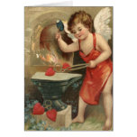Cupid Making Hearts Vintage Valentine Greeting Cards