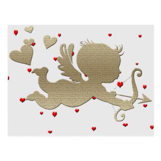 Cupid on tiny little heart's, postcard