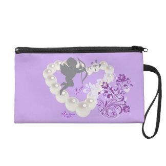 Cupid Pearls Floral Heart Light Purple Wristlet