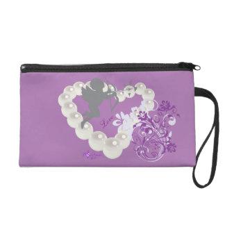 Cupid Pearls Floral Heart Purple Wristlet