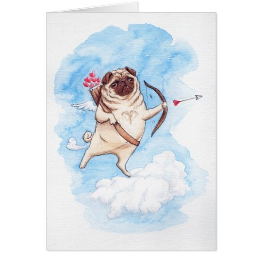 Cupid pug valentine card