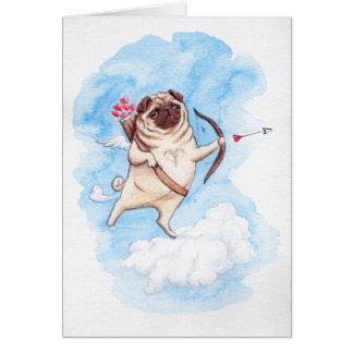 Cupid pug valentine greeting card