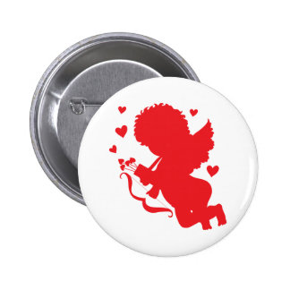 Cupid Red Silhouette 6 Cm Round Badge