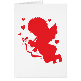 Cupid Red Silhouette Card