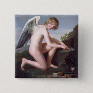 Cupid sharpening his arrows, 1798 (oil on canvas) 15 cm square badge
