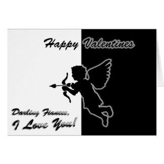Cupid silhouette Fiancee Valentines Card