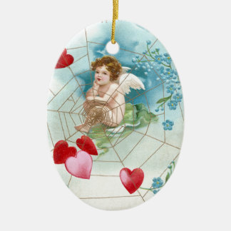 Cupid Snaring Hearts in Web Vintage Valentine Christmas Ornament