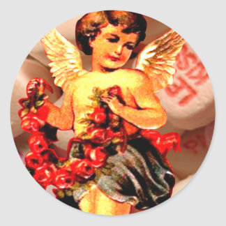 Cupid Sweethearts Candy Rose Collage Round Sticker