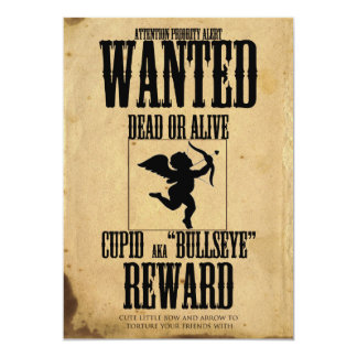 Cupid Wanted Poster Valentine Day Party Invitation