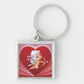 Cupid with bow and arrow Silver-Colored square key ring