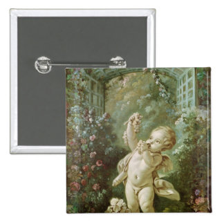 Cupid with Grapes 15 Cm Square Badge