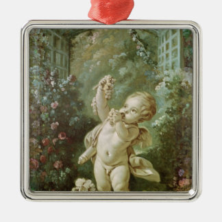 Cupid with Grapes Silver-Colored Square Decoration