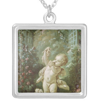 Cupid with Grapes Silver Plated Necklace