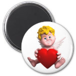 Cupid with heart refrigerator magnet
