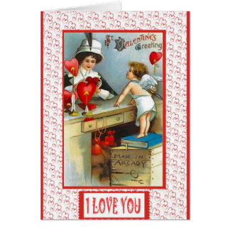 Cupid with hearts card