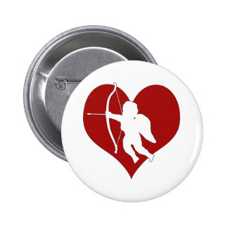 Cupid Within a Heart (Add Your Text) 6 Cm Round Badge