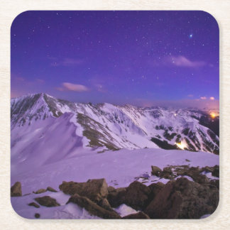 Cupid's Celestial View Square Paper Coaster