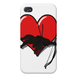 Cupid's Down w/Heart (Add your Text) Cover For iPhone 4