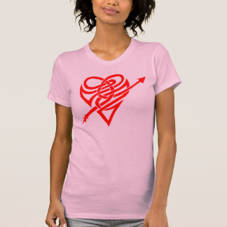 Cupid's heart in white and red t-shirt