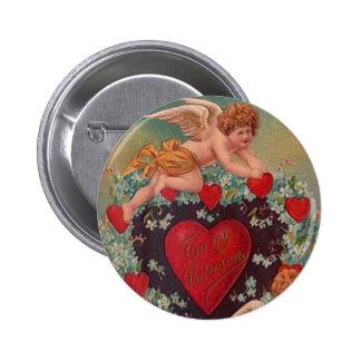 Cupid's Heart Vintage Valentine Button