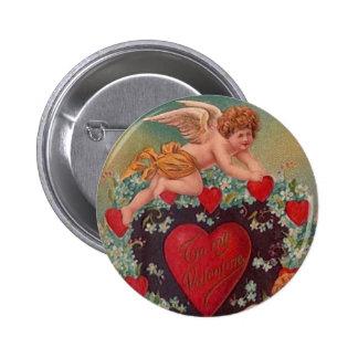 Cupid's Hearts  Vintage Valentine Button