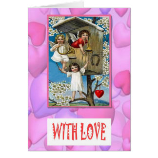 Cupids in a tree house card