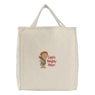 Cupid's Naughty Helper Embroidered Tote Bag