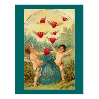 Cupids with Winged Hearts Postcard