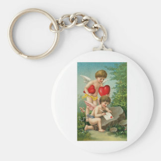 Cupids Writing a Love Letter Basic Round Button Key Ring