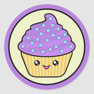 Cuppy Cake Purple Kawaii Classic Round Sticker