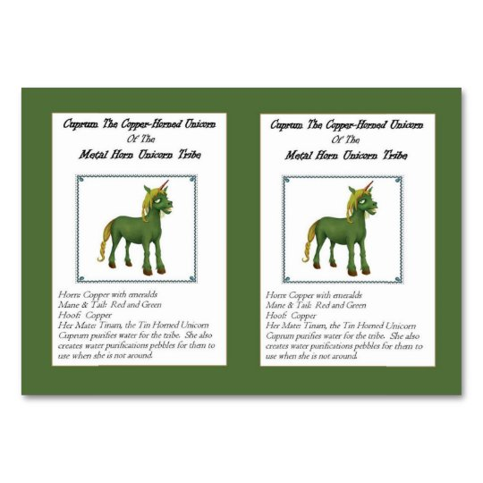 Cuprum The Copper-Horned Unicorn Trading Card Table Card
