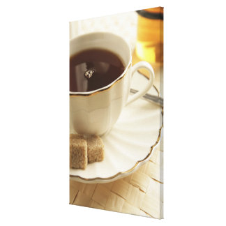 Cups of coffee and sugar. canvas print