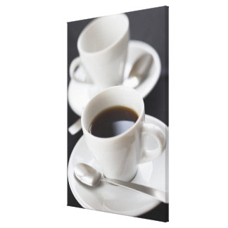 Cups of coffee with saucer canvas print