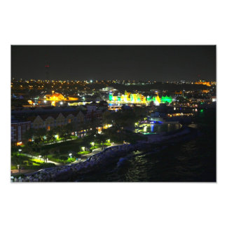 Curacao at Night - Port of Willemstad Photo