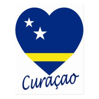 Curacao Flag Heart Postcard