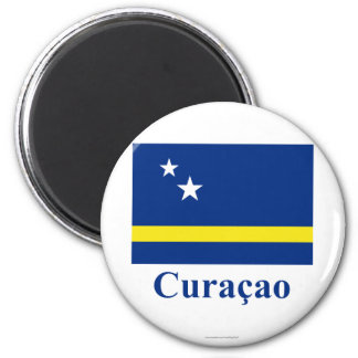 Curacao Flag with Name in Dutch 6 Cm Round Magnet