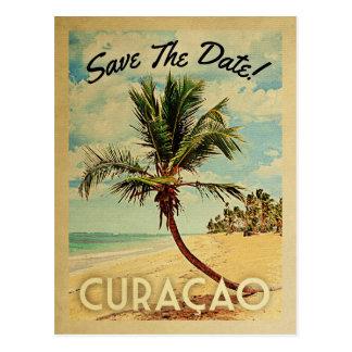 Curacao Save The Date Vintage Beach Palm Tree Postcard