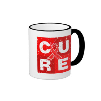 CURE AIDS HIV Distressed Cube Ringer Mug