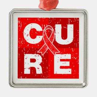 CURE AIDS HIV Distressed Cube Silver-Colored Square Decoration