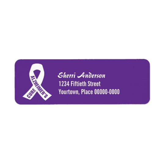 Cure Alzheimers Ribbon on Purple Return Address