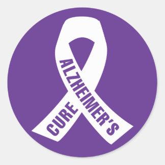 Cure Alzheimers Ribbon on Purple Round Sticker