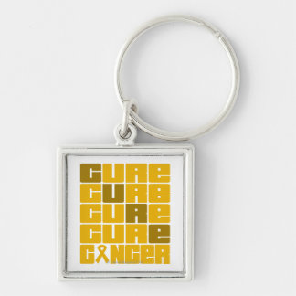 CURE Appendix Cancer Collage Silver-Colored Square Key Ring