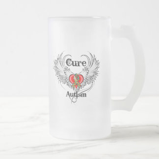 Cure Autism Frosted Glass Mug