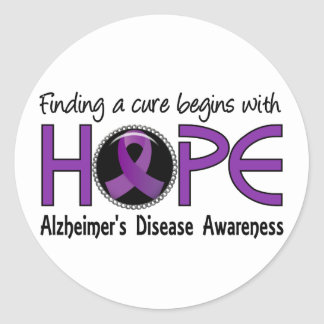 Cure Begins With Hope 5 Alzheimer's Disease Round Sticker
