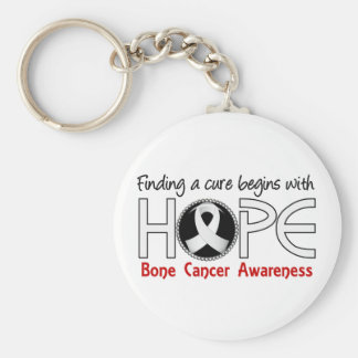 Cure Begins With Hope 5 Bone Cancer Basic Round Button Key Ring