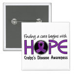 Cure Begins With Hope 5 Crohn's Disease 15 Cm Square Badge